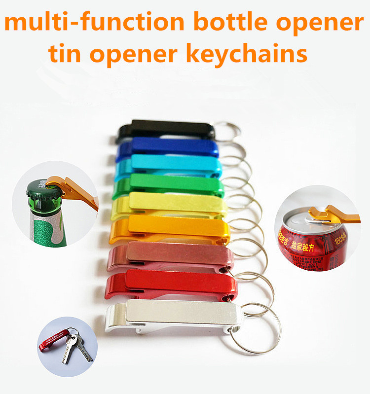 Campaign advertising small gift multi-function bottle opener tin opener keychains
